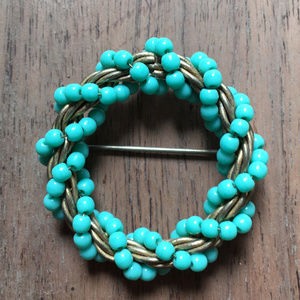 Turquoise Glass Bead Wreath Brooch
